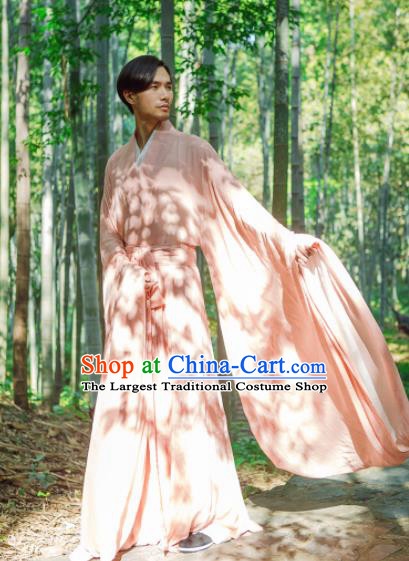 Chinese Ancient Traditional Han Dynasty Pink Cloak Scholar Swordsman Costumes for Men