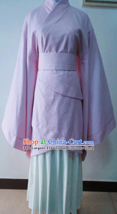 Traditional Chinese Han Dynasty Costume Ancient Princess Pink Curving-Front Robe for Women