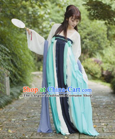 Traditional Chinese Tang Dynasty Maidenform Costume Ancient Princess Blue Hanfu Dress for Women