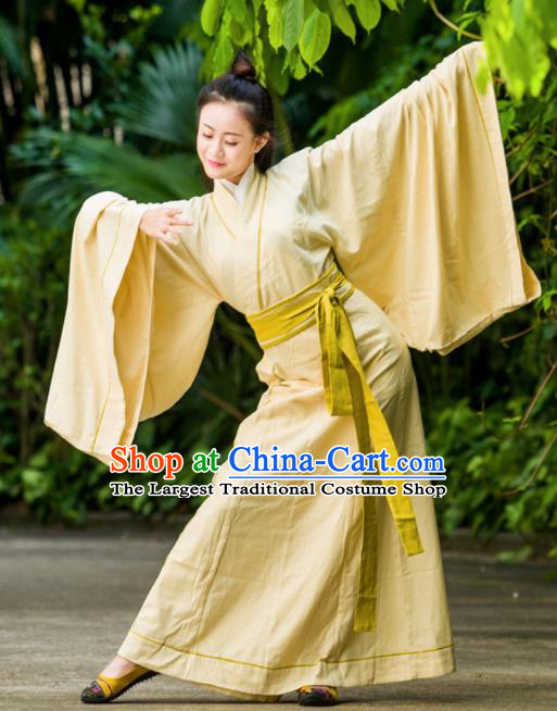 Traditional Chinese Han Dynasty Princess Costume Ancient Yellow Curving-Front Robe for Women