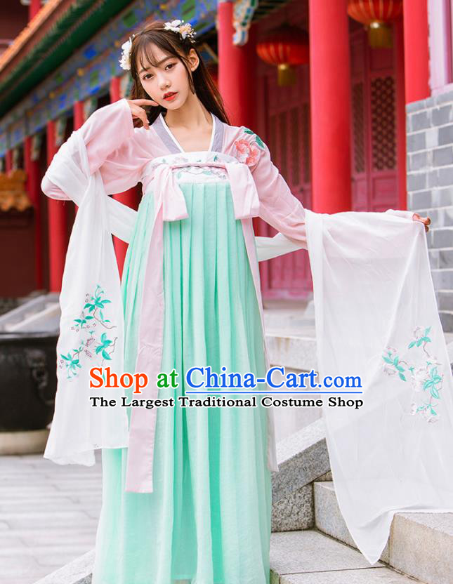 Chinese Ancient Tang Dynasty Nobility Lady Embroidered Green Hanfu Dress Princess Costume for Rich Women