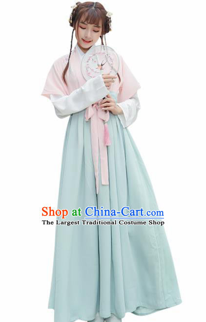 Chinese Ancient Tang Dynasty Princess Hanfu Dress Embroidered Costume for Rich Women