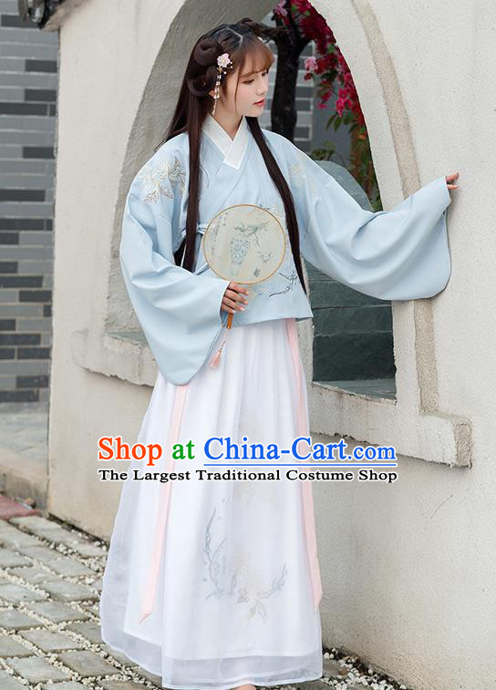 Chinese Ancient Ming Dynasty Princess Hanfu Dress Embroidered Costume for Rich Women