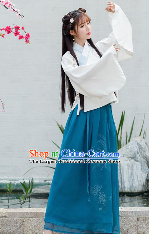 Chinese Ancient Ming Dynasty Princess Green Hanfu Dress Embroidered Costume for Rich Women