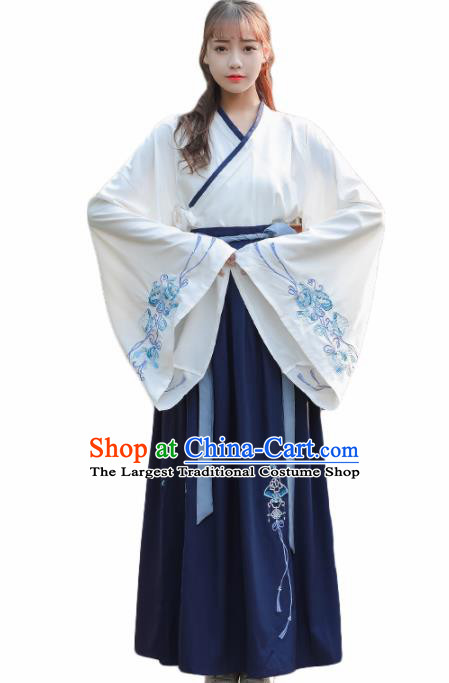 Chinese Ancient Hanfu Dress Han Dynasty Young Lady Costume for Rich Women