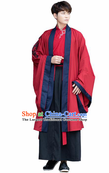 Chinese Ancient Traditional Han Dynasty Scholar Swordsman Costumes Complete Set for Men