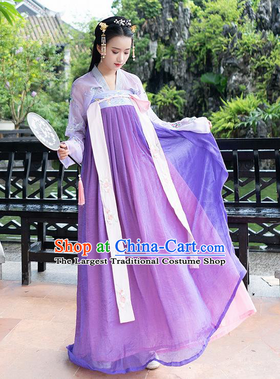Chinese Ancient Tang Dynasty Nobility Lady Embroidered Hanfu Dress Princess Costume for Rich Women