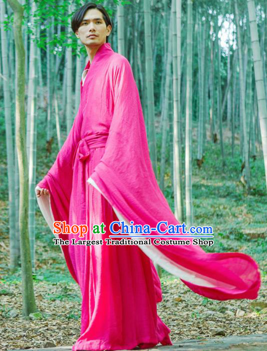 Chinese Ancient Traditional Han Dynasty Rosy Wide Sleeve Robe Scholar Swordsman Costumes for Men