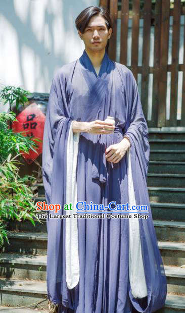 Chinese Ancient Traditional Jin Dynasty Swordsman Costumes Scholar Navy Straight-Front Robe for Men