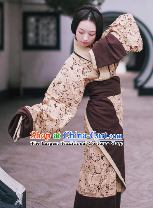 Traditional Chinese Han Dynasty Princess Costume Ancient Brown Curving-Front Robe for Women