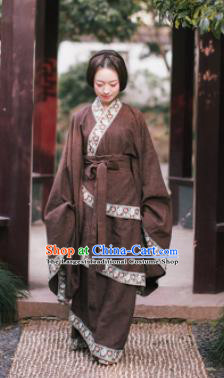 Traditional Chinese Han Dynasty Princess Costume Ancient Deep Brown Curving-Front Robe for Women
