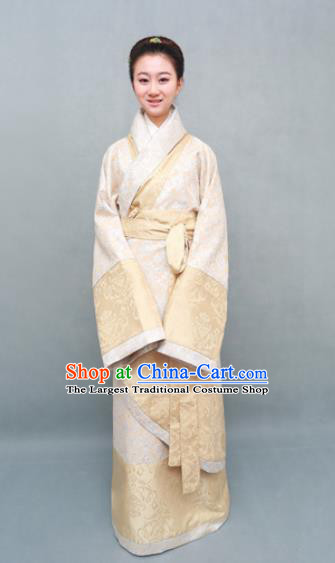Traditional Chinese Han Dynasty Maidenform Beige Curving-Front Robe Ancient Marquise Costume for Women