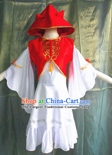 Asian Chinese Cosplay Peri Faery Costume Ancient Swordswoman Red Dress for Women