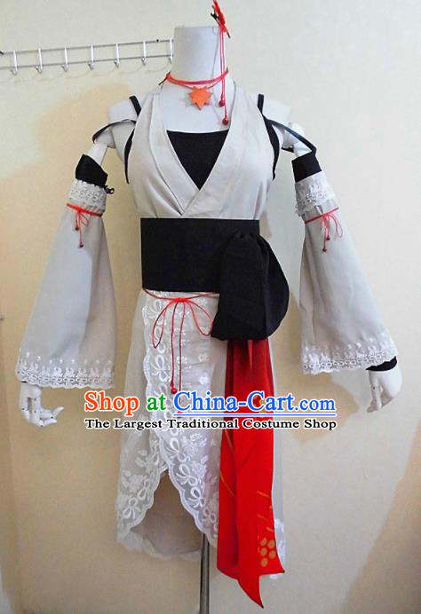 Asian Chinese Cosplay Female Swordsman Costume Ancient Knight White Dress for Women
