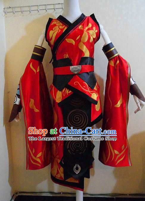Asian Chinese Cosplay Female Swordsman Costume Ancient Knight Red Dress for Women