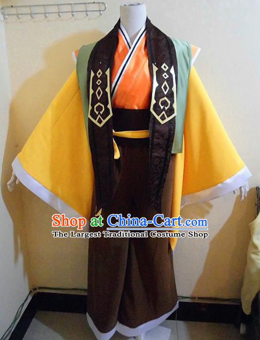 Asian Chinese Cosplay Royal Highness Customized Costume Ancient Swordsman Yellow Robe for Men