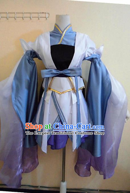 Asian Chinese Cosplay Female Swordsman Costume Ancient Young Lady Knight Blue Dress for Women