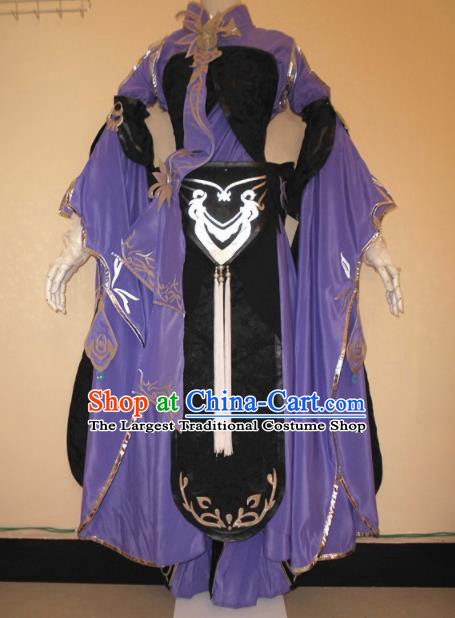Asian Chinese Cosplay Female Knight Purple Costume Ancient Swordsman Clothing for Women