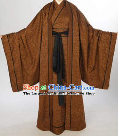 Chinese Traditional Han Dynasty Scholar Costumes Ancient Minister Robe for Men