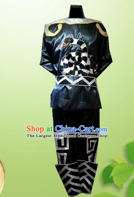 Traditional Chinese Beijing Opera Takefu Costume Drum Dance Black Clothing for Men