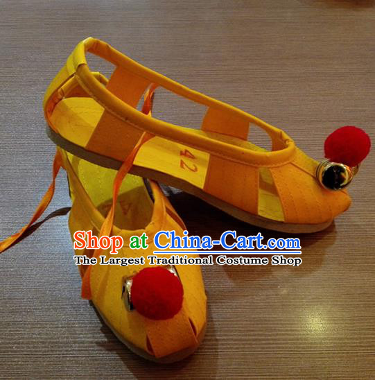 Traditional Chinese Beijing Opera Monk Shoes Embroidered Yellow Shoes for Men