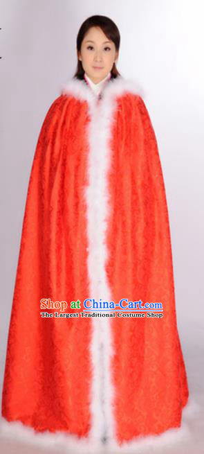 Traditional Chinese Ming Dynasty Princess Costume Ancient Young Lady Red Cloak for Women