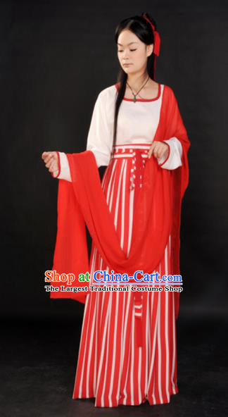 Traditional Chinese Tang Dynasty Maidenform Red Costume Ancient Young Lady Clothing for Women
