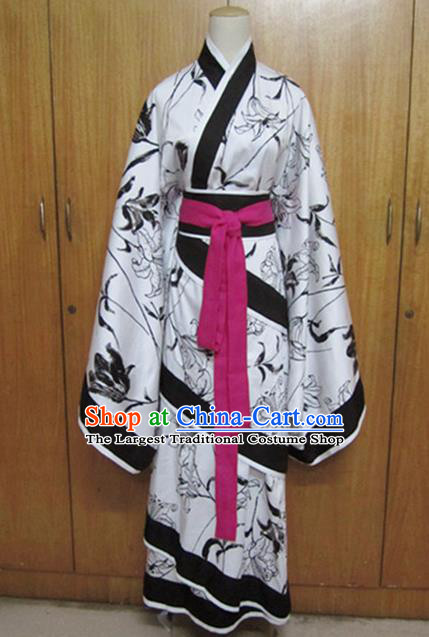 Traditional Chinese Han Dynasty Dance White Curving-Front Robe Ancient Princess Costume for Women