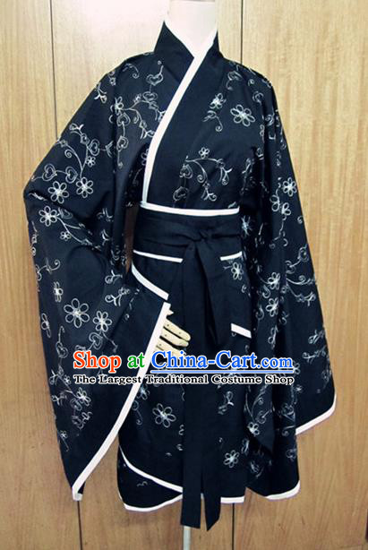 Traditional Chinese Han Dynasty Navy Curving-Front Robe Ancient Princess Costume for Women