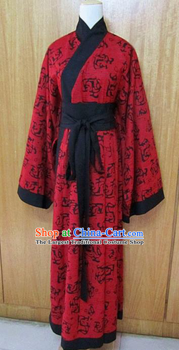 Traditional Chinese Han Dynasty Princess Red Hanfu Dress Ancient Fairy Costume for Women