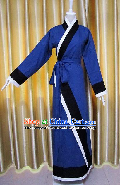 Traditional Chinese Han Dynasty Maidenform Deep Blue Curving-Front Robe Ancient Costume for Women