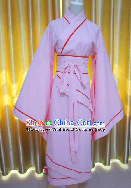 Traditional Chinese Han Dynasty Maidenform Pink Curving-Front Robe Ancient Princess Costume for Women