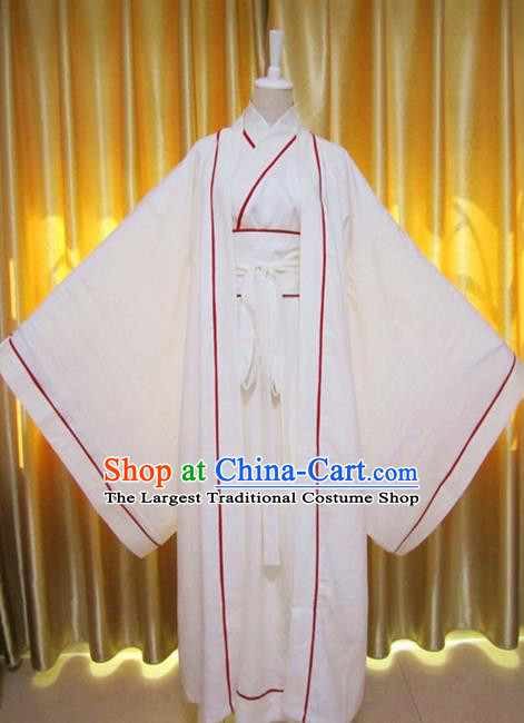 Chinese Traditional Han Dynasty Scholar Costumes Ancient Nobility Childe White Robe for Men