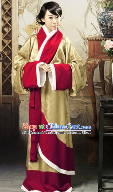 Asian Chinese Han Dynasty Imperial Consort Curving-Front Robe Ancient Traditional Royal Countess Costume for Women