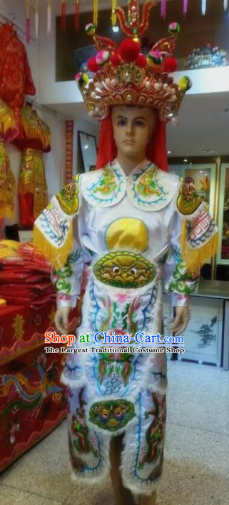 Traditional Chinese Beijing Opera Takefu Costume General Embroidered White Clothing and Hat for Men