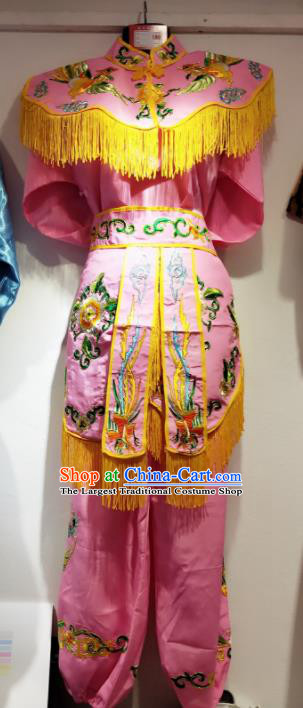 Traditional Chinese Beijing Opera Diva Costume Swordswoman Embroidered Pink Clothing for Adults