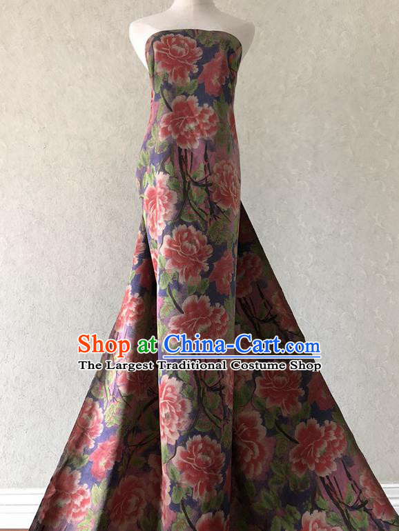 Asian Chinese Traditional Fabric Classical Peony Pattern Brocade Cloth Silk Fabric