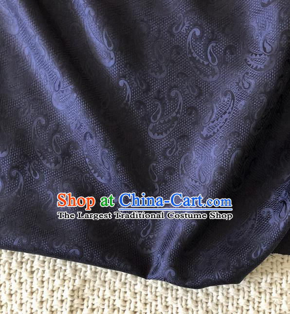 Asian Chinese Traditional Fabric Classical Pattern Navy Brocade Cheongsam Cloth Silk Fabric