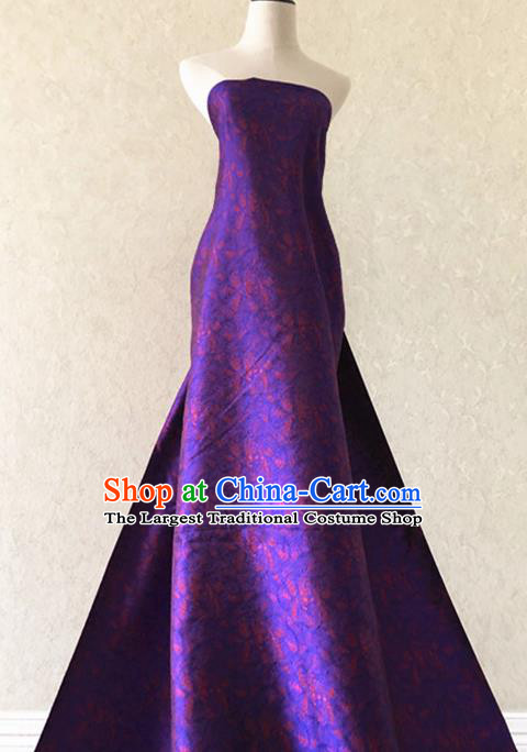 Asian Chinese Traditional Fabric Classical Pattern Purple Brocade Cheongsam Cloth Silk Fabric