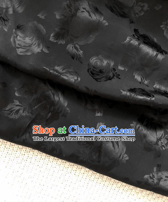 Asian Chinese Traditional Fabric Classical Rose Pattern Black Brocade Cheongsam Cloth Silk Fabric