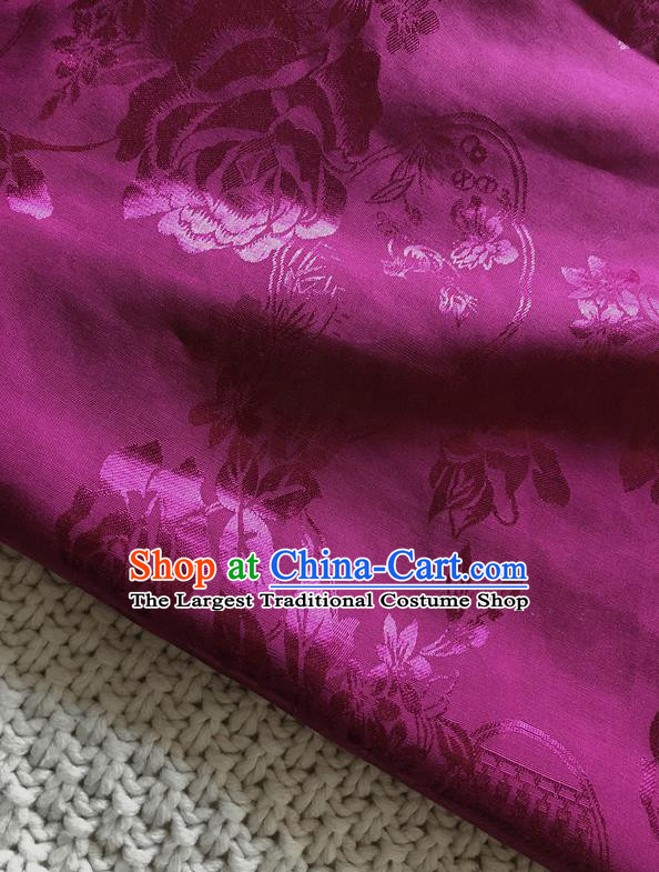 Asian Chinese Traditional Fabric Classical Pattern Rosy Brocade Cheongsam Cloth Silk Fabric
