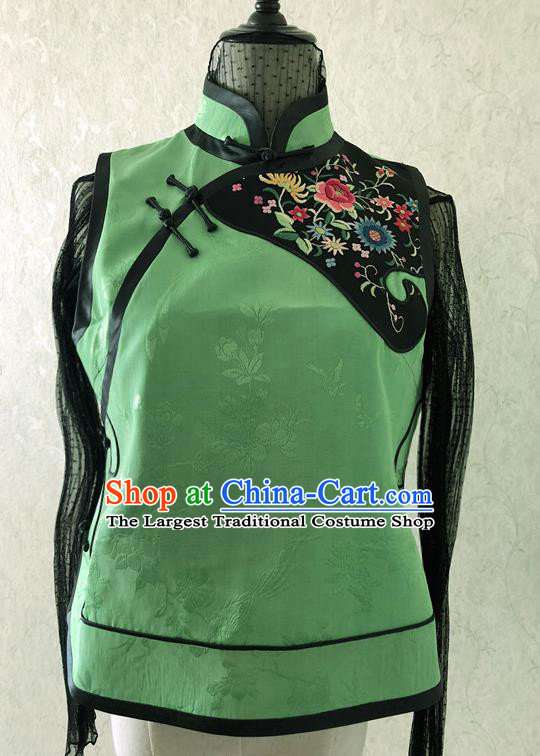Traditional Chinese Handmade Brocade Costume Tang Suit Embroidered Green Vest for Women