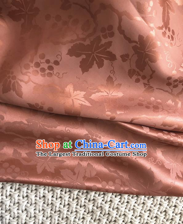 Asian Chinese Traditional Fabric Classical Grape Pattern Pink Brocade Cheongsam Cloth Silk Fabric