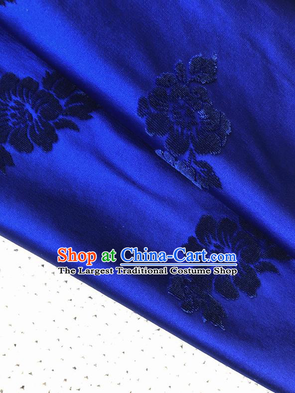Asian Chinese Traditional Fabric Classical Malus Spectabilis Pattern Royalblue Brocade Cheongsam Cloth Silk Fabric