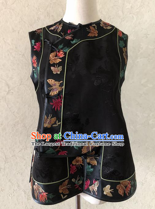 Traditional Chinese Handmade Embroidered Costume Tang Suit Embroidered Black Brocade Vest for Women