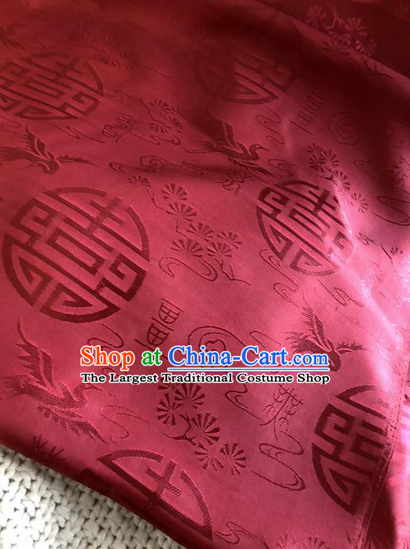 Asian Chinese Traditional Fabric Classical Crane Pattern Red Brocade Cheongsam Cloth Silk Fabric