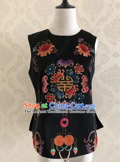 Traditional Chinese Handmade Embroidered Costume Tang Suit Black Vest for Women