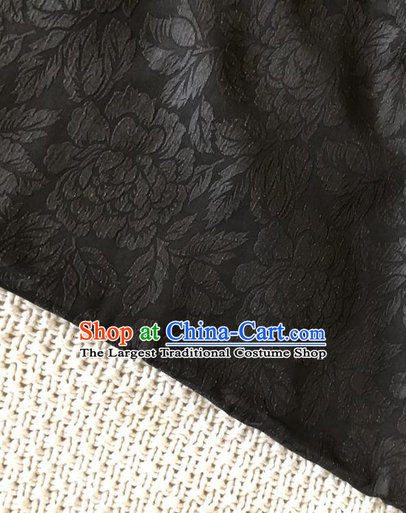 Asian Chinese Traditional Fabric Classical Peony Pattern Black Brocade Cheongsam Cloth Silk Fabric