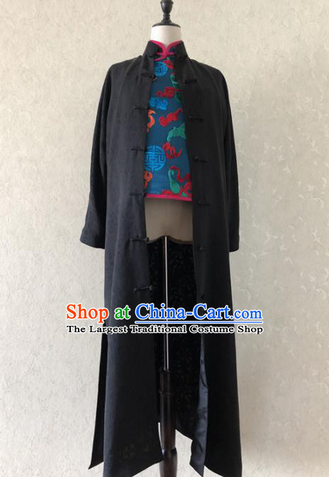 Traditional Chinese Handmade Brocade Costume Tang Suit Black Coat for Women