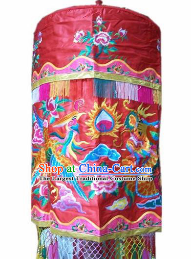 Traditional Chinese Beijing Opera Props Baldachin Embroidered Dragon Phoenix Umbrella